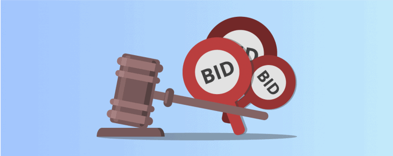 Bidding on Google Ads auction gavel bid paddles